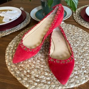 Ivanka Trump Red Beaded Pointed Toe Suede Flats